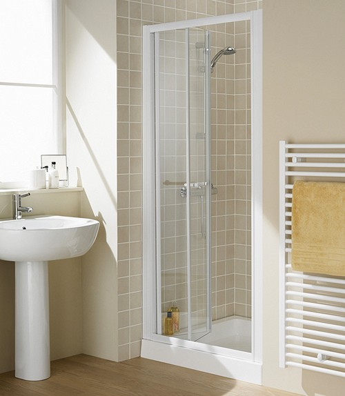 900mm Semi Frameless Bi Fold Shower Door White