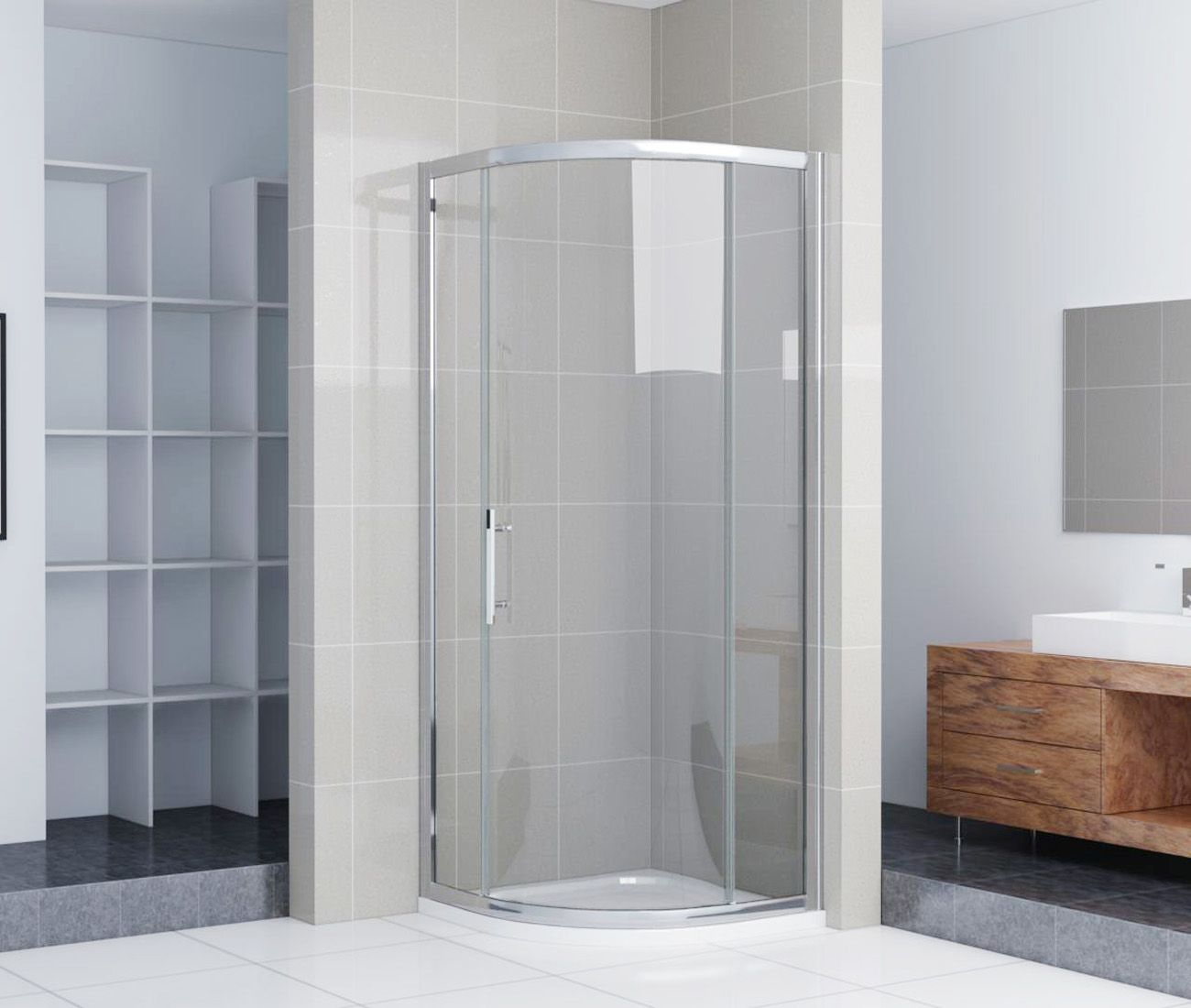 Crown 1000mm single door quadrant shower enclosure for Door quadrant