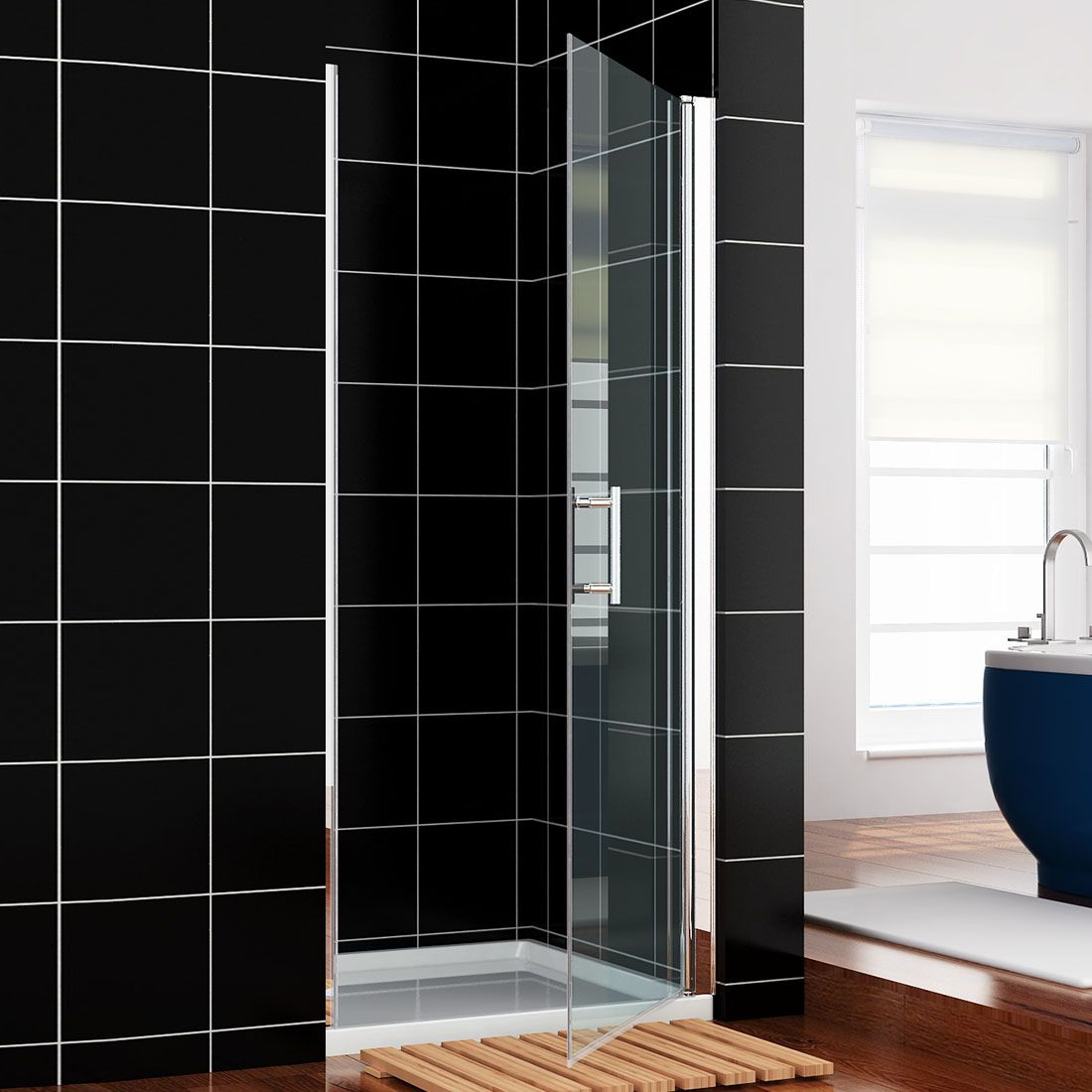 Crown 800mm frameless hinged shower door for 1300 mm sliding shower door